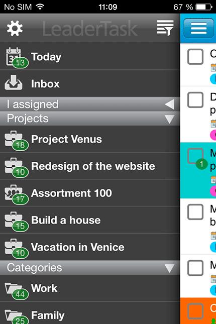 Список задач в LeaderTask для iPhone