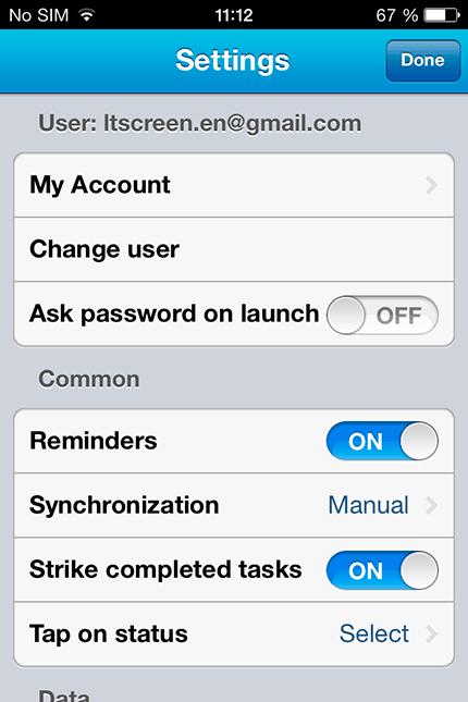 Окно настроек приложения LeaderTask для iPhone