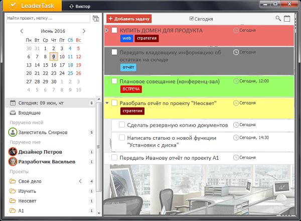 Обзор списка задач в LeaderTask
